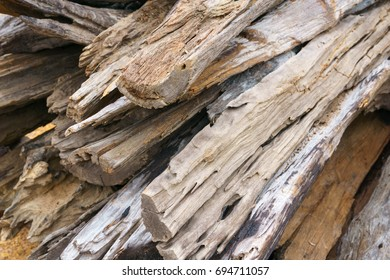 close up. piles of old wood