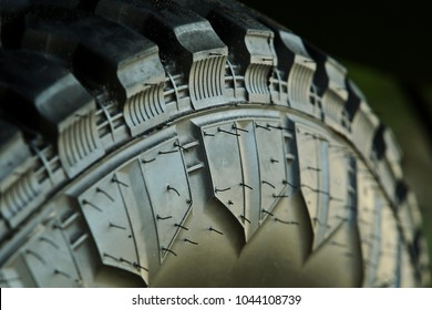 Close up. Selective focus. Rubber wheel Automotive Design Technology