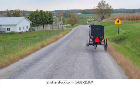 CLOSE UP: Traditional Amish families traveling in horse-drawn buggy past milk farm in picturesque agricultural village. Simple Amish people driving through the town in carriage on cloudy autumn day