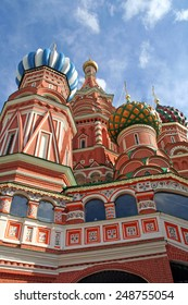 close up, vertical photo of st basil's cathedral at the red square in moscow