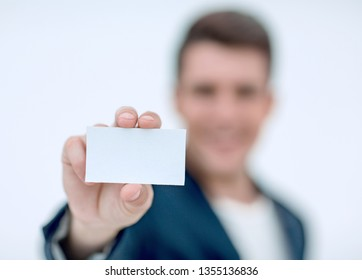 close up.business card in the hands of a businessman