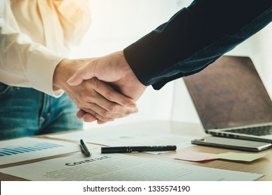 close up.handshake business partners agree to contract Real Estate Venture International trade, investment in meetings vision to invest for profit