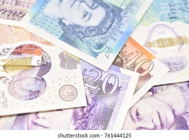 Close Up/Macro Study of Various British Sterling Paper and Polymer Bank Notes
