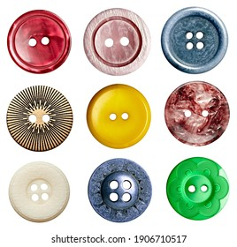 close upo of buttons on white background