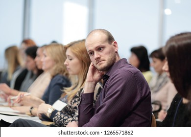 close up.pensive businessman during a press conference