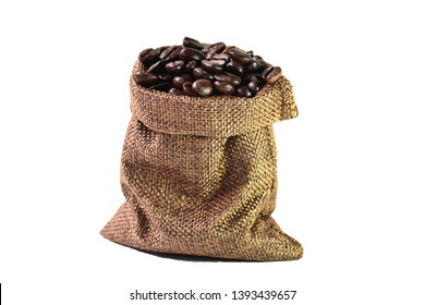 close up,roasted coffee beans in hemp sacks,isolate