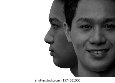 Close up,Two face of Asian man, Serious and smile face on white background