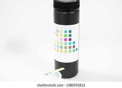 Close up Urine analysis strip test.