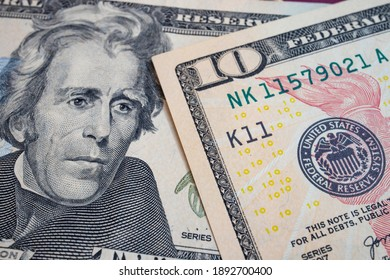 close up US dollar banknotes on background