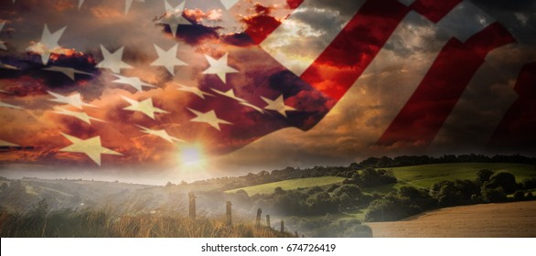 Close up of the us flag against country scene