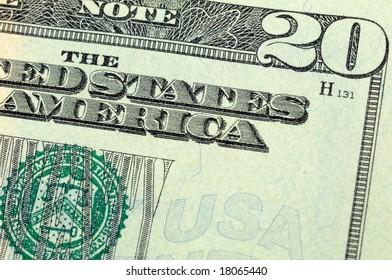Close up of US twenty dollar bill