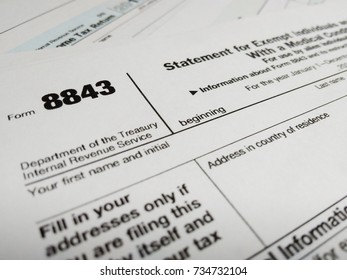 Close Up of USA Tax Form type 8843, Statement for Exempt Individuals and Individuals With a Medical Condition