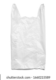 close up of a used white plastic bag on white background