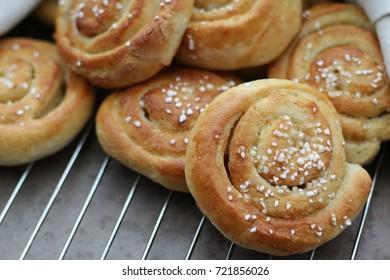 Close up of vanilla buns.