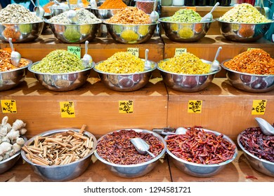 Close up a variety of spices in row with price label at Jerusalem market, Israel