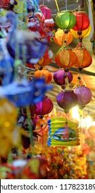 Close up of vibrant color lantern at lanterns street, district 5, Ho chi Minh city, Vietnam