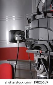 close up of video camera in TV studio