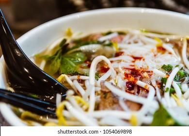 Close up of vietnamese food pho bowl