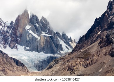 A close up view of the 3 spires of Cerro Torre in Argentina Patagonia from the trail heading to the base