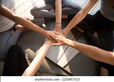 Close up view from above young female putting hands together sitting in lotus position on yoga mat wearing sportswear meets in fitness studio. Healthy active lifestyle, friendship and unity concept