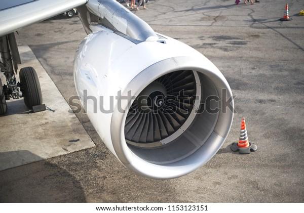 Close up View of Airplane Turbine Engine