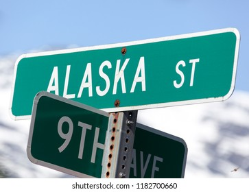 The close view of Alaska Street sign in Skagway town (Alaska).