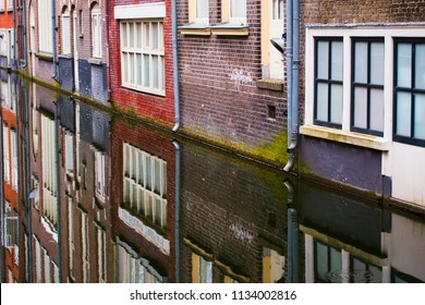close up view of Amsterdam houses and a canal in Netherlands