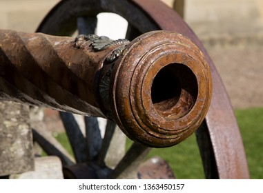 Close up view of ancient military cannon