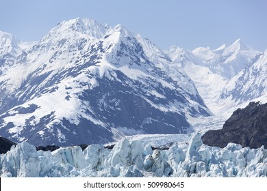 The close view of an area where the glacier begins in mountains (Glacier Bay National Park, Alaska).