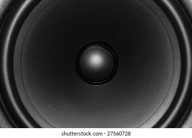 A close up view of an audio speaker cone.