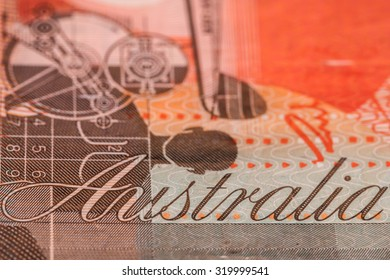 Close up view of Australian twenty dollar note