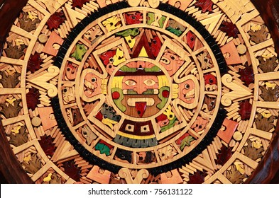 Close up view of a Aztec Calendar