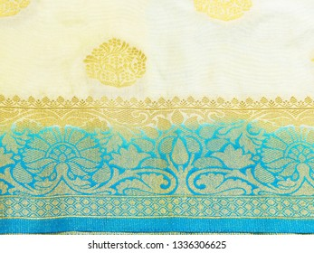 Close view of Banarasi silk sari. These exquisite, expensive sarees are famous for their gold and silver zari, brocade.