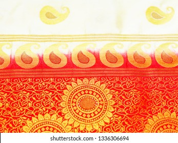 Close view of Banares silk sari. These exquisite, expensive sarees are famous for their gold and silver zari, brocade.