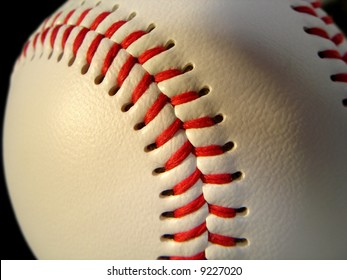 Close view of a baseball.