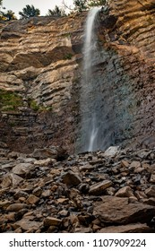 Close up view of Battle Creek falls on the Battle Creek Fall Trail near the Canyon in Pleasant Grove Utah from the Creek bed