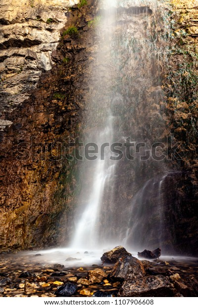 Close up view of Battle Creek falls on the Battle Creek Fall Trail near the Canyon in Pleasant Grove Utah.