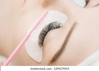 Close up view of beautiful female eye with long eyelashes. Eyelash Extension Procedure. Stylist holding pink brush, tweezers, tongs and making lengthening lashes for girl in a beauty salon. Treatment.