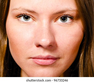 close up view of a beautiful female face
