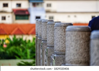 Close up view of beautiful granite baluster fence in chinese temple