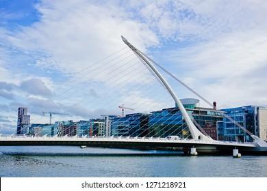 Close up view of beautiful Samuel Beckett bridge and docklands skyline Dublin Ireland