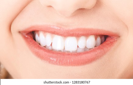Close view of beautiful smile with white clean teeth. Dental concept.