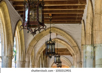 Close up view of beautiful vintage architecture and lighting.