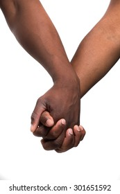 Close up view of a black / african / coloured man and woman holding hands