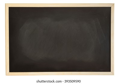 Close up view of a black dirty chalkboard with softwood frame. Chalk on the blackboard has been rubbed out.