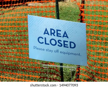 A close view of the blue area closed sign.