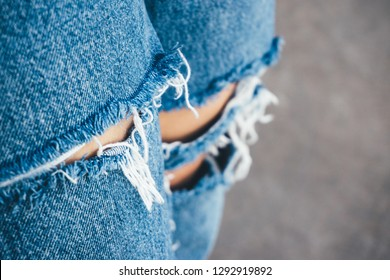Close Up View Of Blue Jeans Lack Or Jeans Lack Pattern Texture Background. Fashion Style. The Facial Skin Of Old Denim