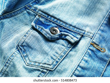 Close up view of blue jeans pocket