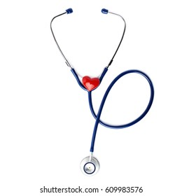 Close up view of blue stethoscope with toy ceramic heart over isolated white background
