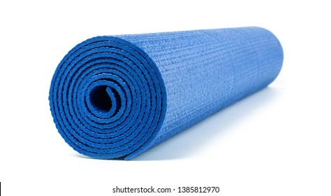 Close up view of blue yoga mat for exercise, isolated on white background